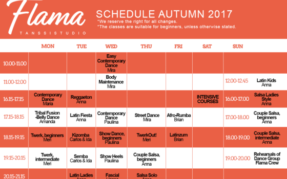 Schedule Changes But It Is Never Too Late to Start Dancing!