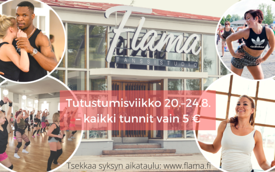 Flama's autumn starts with a trial week from the 20th to 24th of August, all classes only 5 €/h