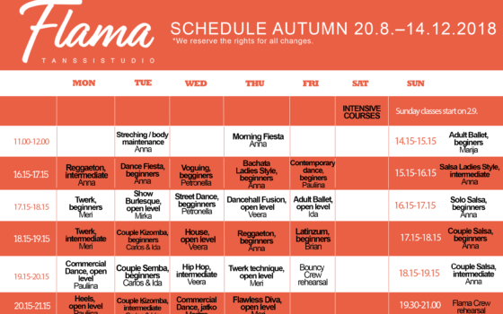 Schedule for autumn 2018 is published now!