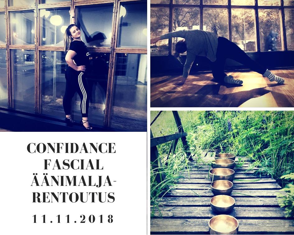 Hanna Heinosen ConfiDance & Fascial-äänimaljarentoutus -tiiviskurssi sunnuntaina 11. marraskuuta